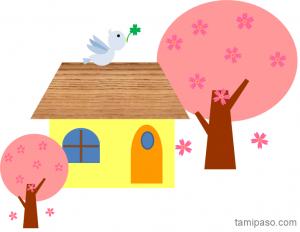家と桜そして鳥