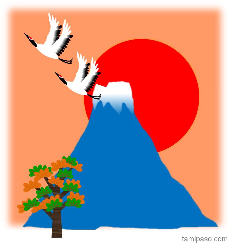鶴と富士山